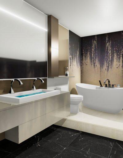 Vue 3D d'une rénovation de salle de bain contemporaine