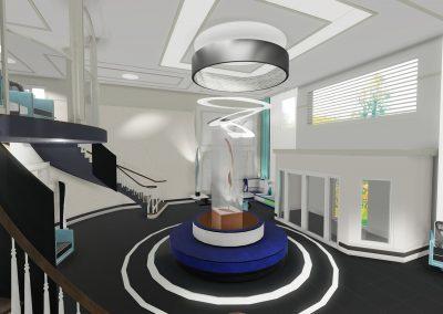 """Résidence privée pour aînés / Modélisation 3D d'un concept en design de style Rétro-Vintage du Grand Hall.Vue générale de l'escalier. Alternative proposée avec un plancher de couleur """"Ébène"""""""