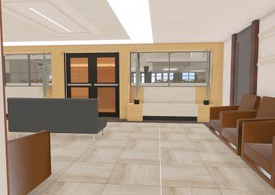 Résidence privée pour aînés / Modélisation 3D du salon lounge donnant accès à la salle à manger