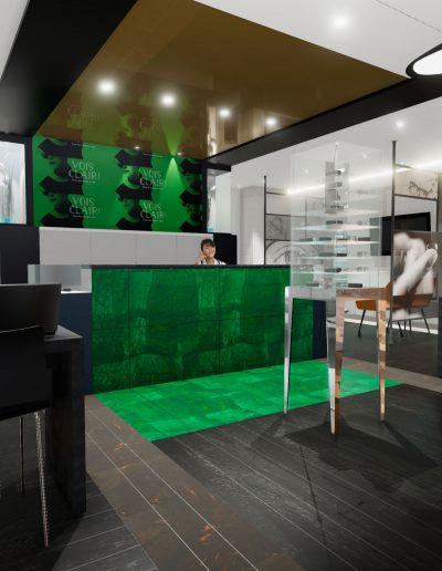 Modélisation 3D-Ébénisterie sur mesure / Aménagement intérieur et design du poste de réception de la clinique visuelle Zieuté