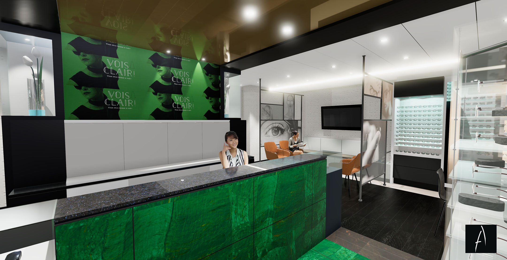 Modélisation 3D et conception d'ébénisterie sur mesure d'un poste de réception, des présentoirs et d'une banquette pour la salle d'attente de la clinique visuelle Zieuté de Québec