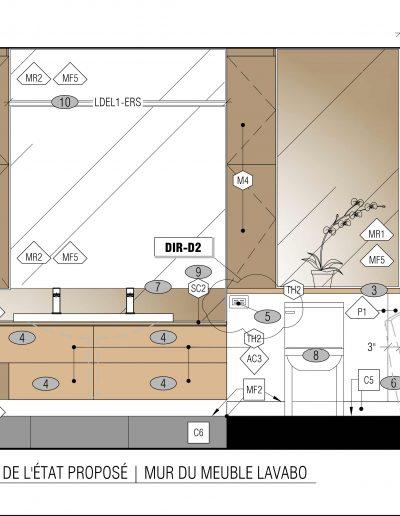 Élévation, plan et devis d'une rénovation d'une vanité de salle de bain contemporaine