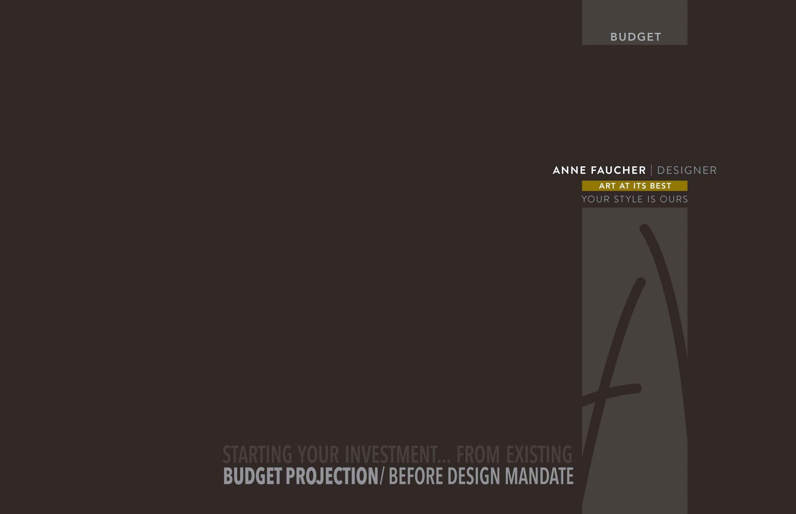 Page couverture des projections budgétaires en design d'intérieur, secteur par secteur