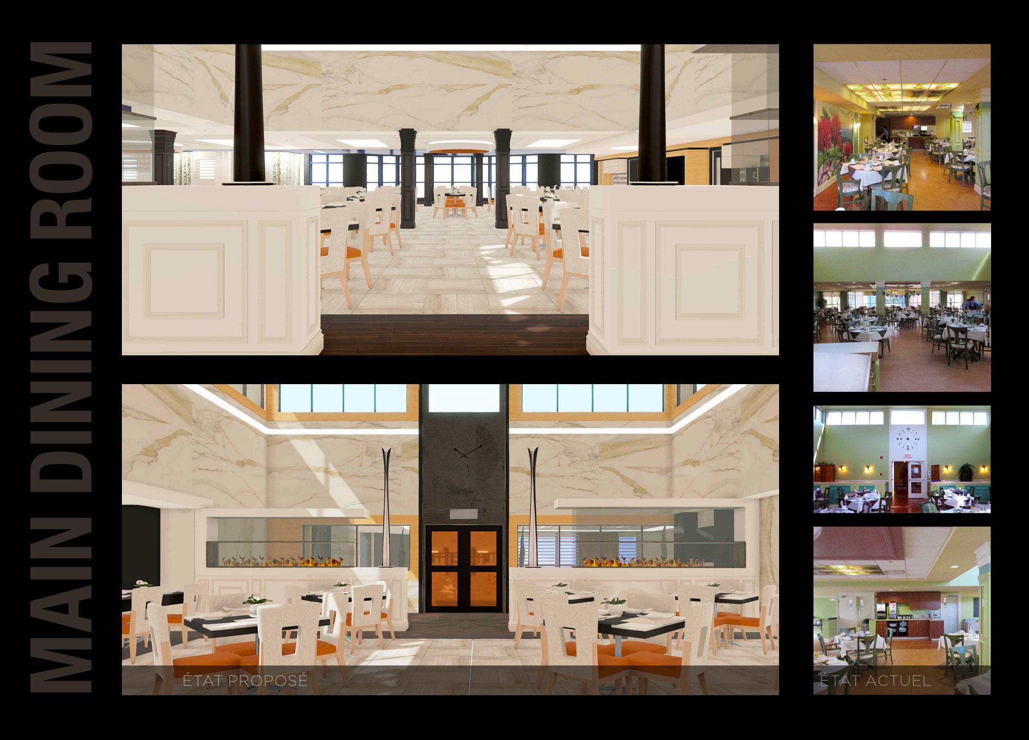 Moodboard d'une modélisation 3D d'un concept en design d'intérieur proposé de la Grande salle à manger en comparaison des photos de l'état existant