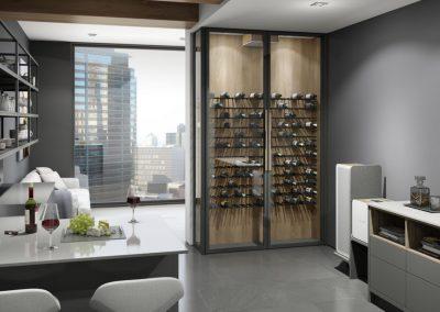 Inspiration et conception d'un cellier sur mesure de style contemporain dans une cuisine